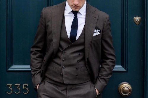 結婚式スーツネイビーグレー