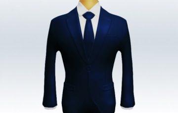 ネイビースーツ無地ネクタイ着こなし