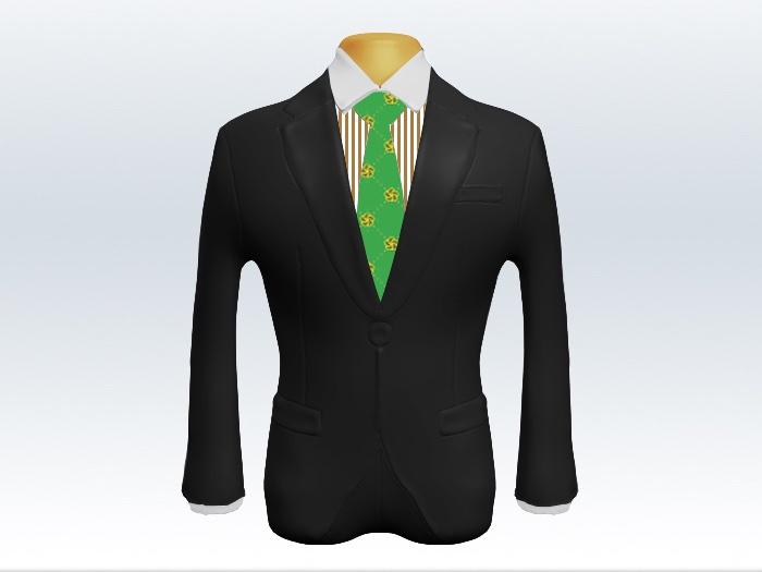 チャコールグレースーツとライトグリーン小紋柄ネクタイとロンドンストライプワイシャツ