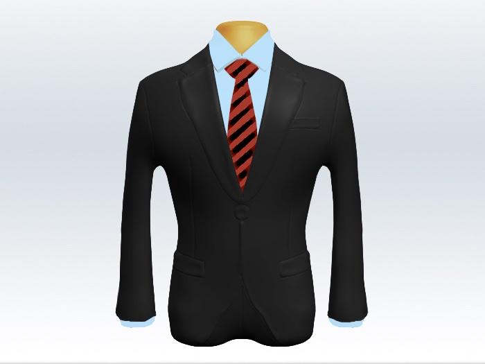 チャコールグレースーツと赤黒ストライプネクタイと青ワイシャツ