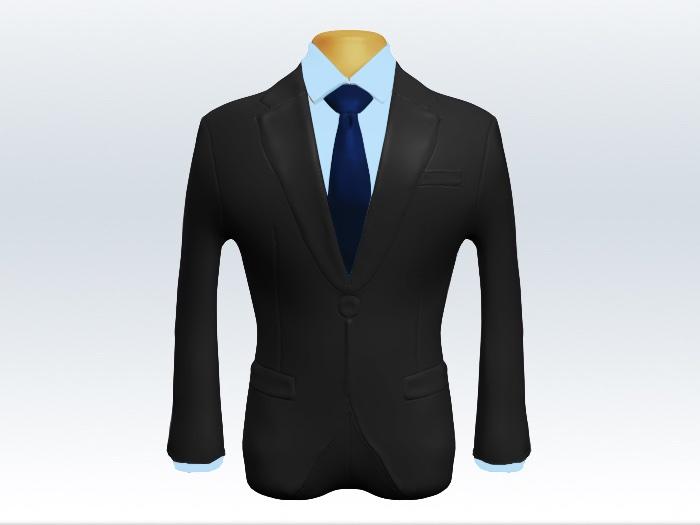 チャコールグレースーツと紺無地ネクタイと青ワイシャツ