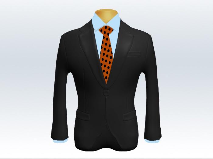 チャコールグレースーツとオレンジドットネクタイと水色ワイシャツ