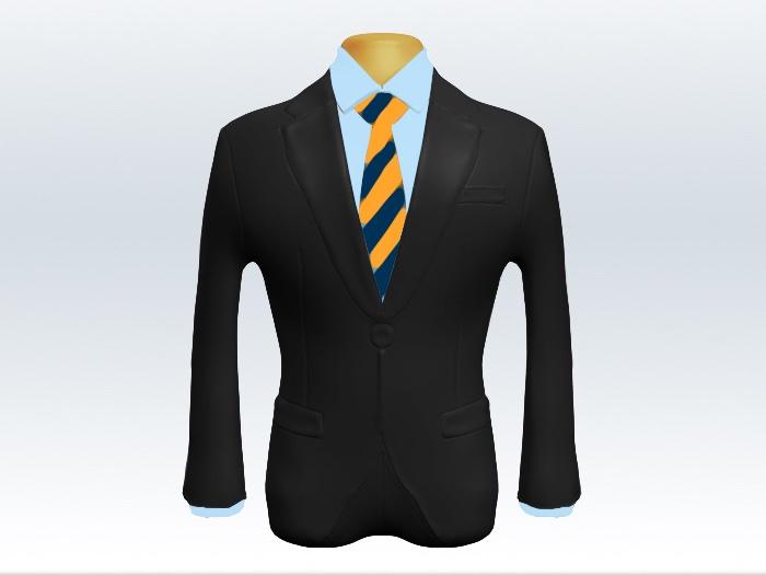 チャコールグレースーツと紺黄ストライプネクタイと青ワイシャツ