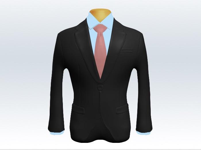 チャコールグレースーツとピンク無地ネクタイと青ワイシャツ