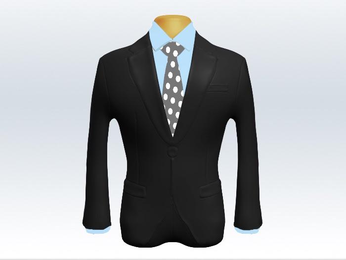 チャコールグレースーツと灰色ドットネクタイと水色ワイシャツ