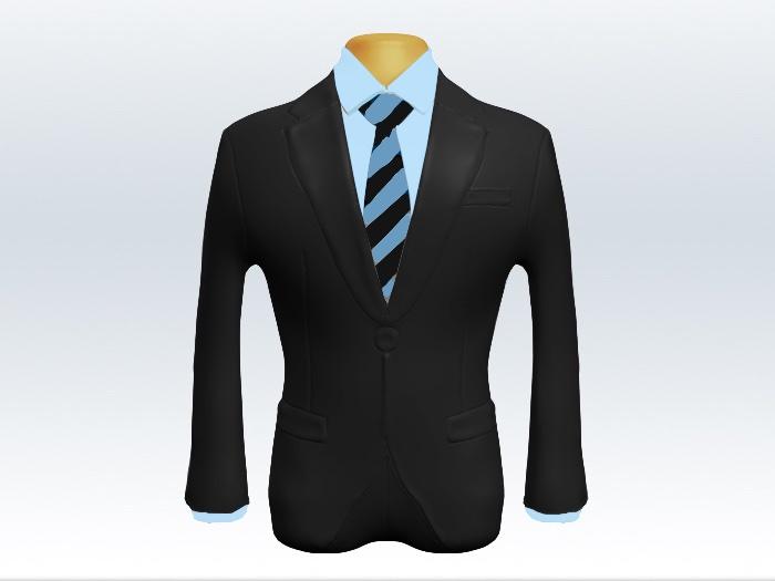 チャコールグレースーツと黒水色ストライプネクタイと青ワイシャツ