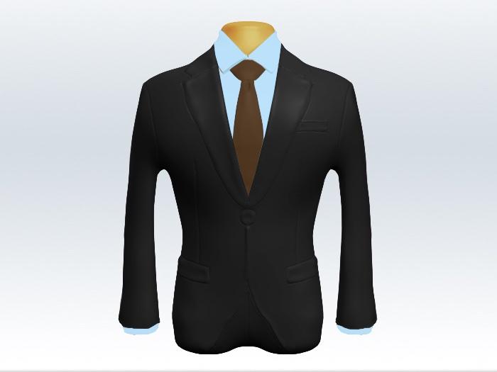チャコールグレースーツと茶無地ネクタイと青ワイシャツ