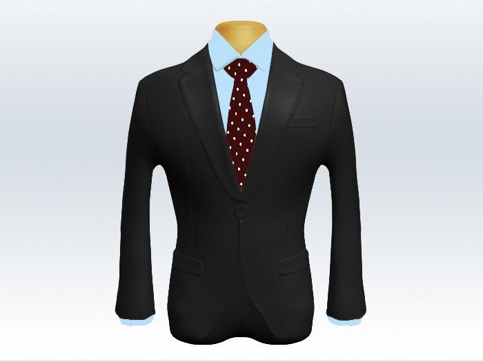 チャコールグレースーツと赤ドットネクタイと水色ワイシャツ