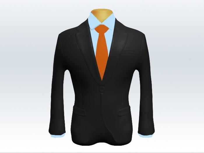 チャコールグレースーツとオレンジ無地ネクタイと青ワイシャツ