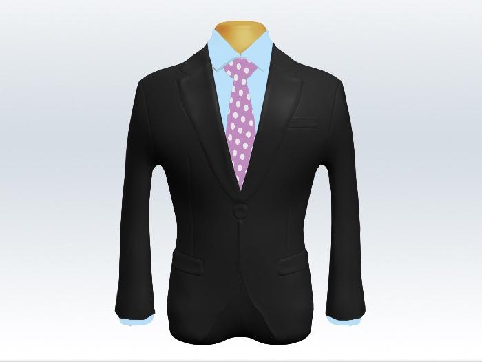 チャコールグレースーツと紫ドットネクタイと水色ワイシャツ