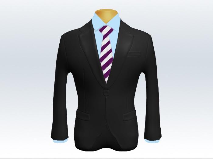 チャコールグレースーツと紫白ストライプネクタイと青ワイシャツ