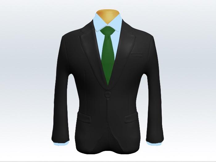 チャコールグレースーツとグリーン無地ネクタイと青ワイシャツ