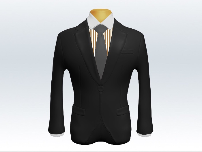 チャコールグレースーツと灰色無地ネクタイとロンドンストライプワイシャツ