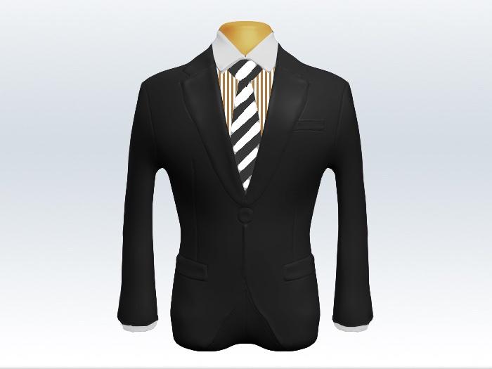 チャコールグレースーツと灰白ストライプネクタイとロンドンストライプワイシャツ