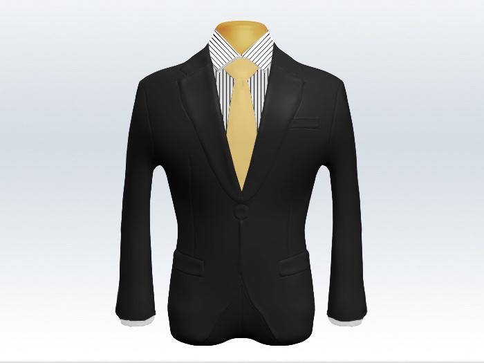 チャコールグレースーツと黄色無地ネクタイとペンシルストライプワイシャツ