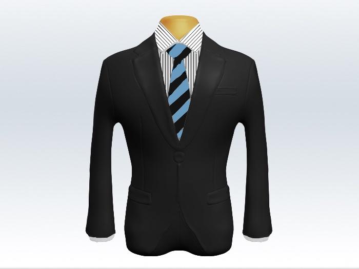 チャコールグレースーツと黒水色ストライプネクタイとペンシルストライプワイシャツ