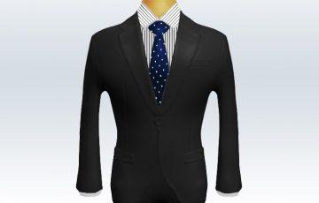 チャコールグレースーツと紺ドットネクタイとペンシルストライプワイシャツ