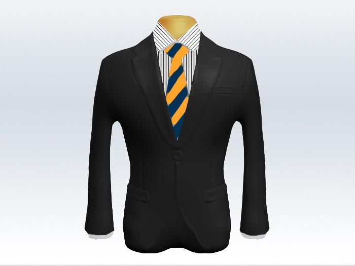 チャコールグレースーツと紺黄ストライプネクタイとペンシルストライプワイシャツ