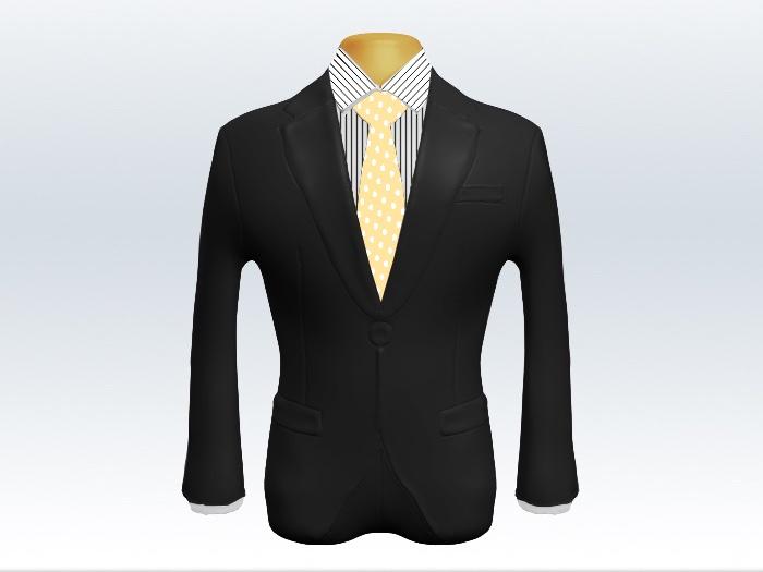 チャコールグレースーツと黄色ドットネクタイとペンシルストライプワイシャツ