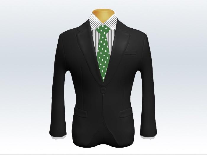 チャコールグレースーツと緑ドットネクタイとペンシルストライプワイシャツ