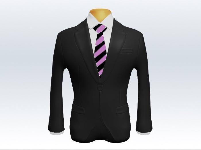 チャコールグレースーツと紫白ストライプネクタイと白ワイシャツ
