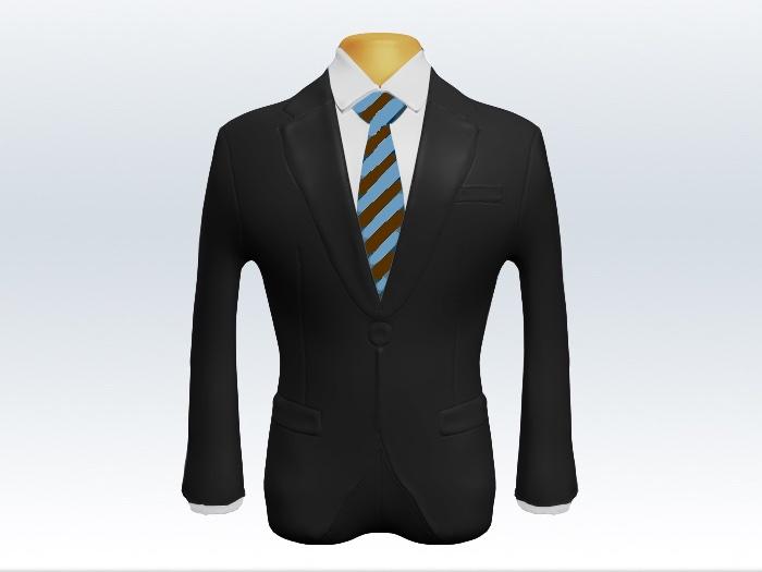 チャコールグレースーツと茶水色ストライプネクタイと白ワイシャツ