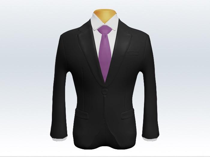 チャコールグレースーツと紫無地ネクタイ