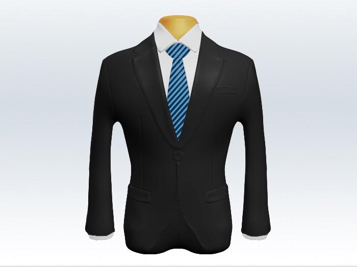 チャコールグレースーツと細身ストライプネクタイと白ワイシャツ