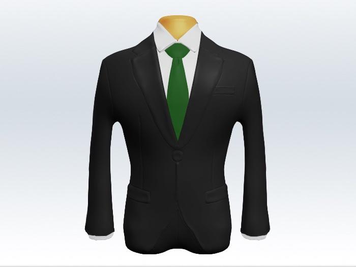チャコールグレースーツと緑無地ネクタイ