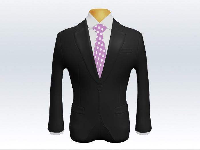 チャコールグレースーツと紫ドットネクタイとホワイトワイシャツ