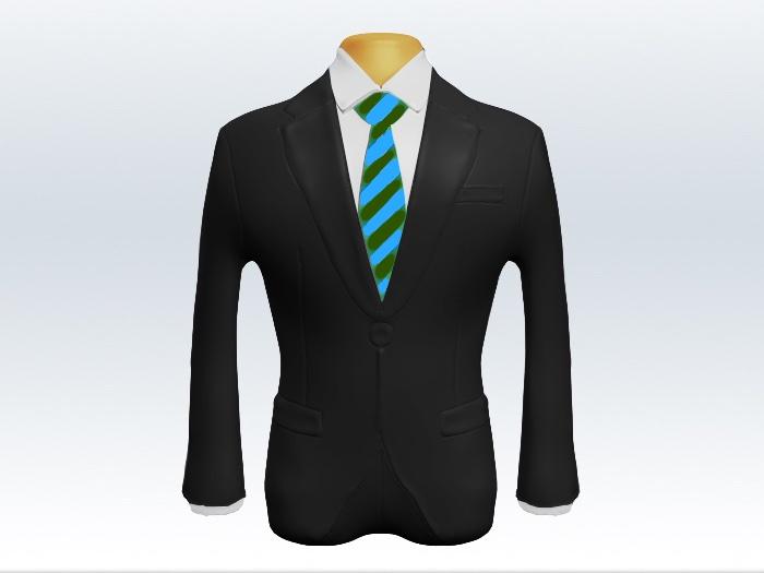チャコールグレースーツと緑水色ストライプネクタイと白ワイシャツ