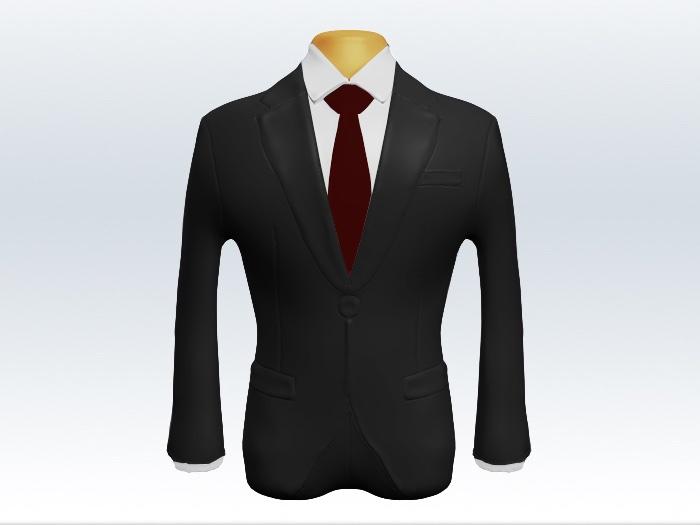 チャコールグレースーツと赤無地ネクタイ
