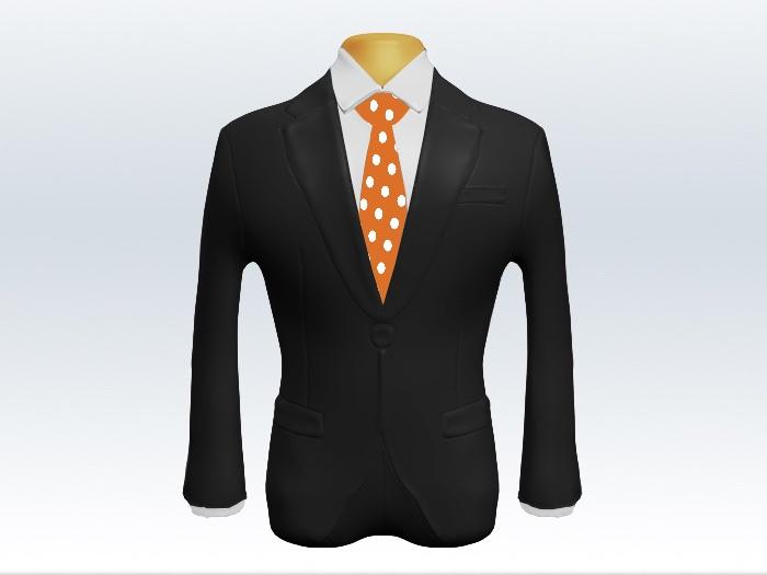 チャコールグレースーツとオレンジドットネクタイとホワイトワイシャツ