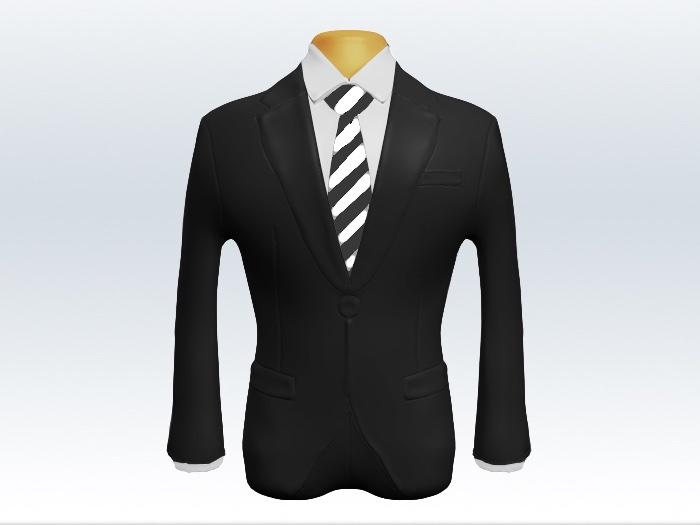 チャコールグレースーツと灰白ストライプネクタイと白ワイシャツ
