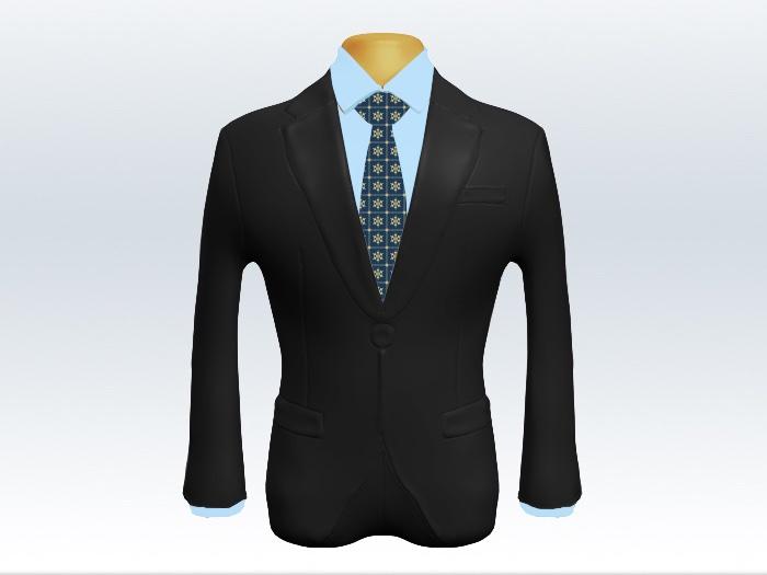 チャコールグレースーツと青小紋柄ネクタイと青ワイシャツ