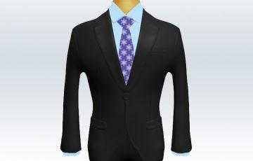 チャコールグレースーツとパープル小紋柄ネクタイと青ワイシャツ