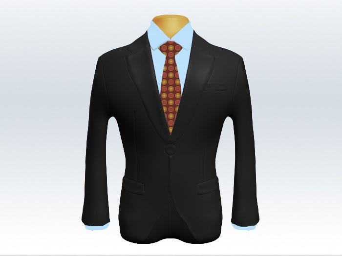 チャコールグレースーツと赤小紋柄ネクタイと青ワイシャツ