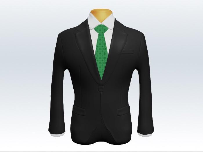 チャコールグレースーツと緑小紋柄ネクタイと白ワイシャツ