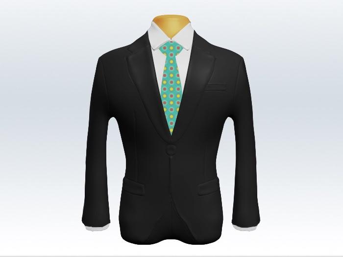チャコールグレースーツと水色小紋柄ネクタイと白ワイシャツ