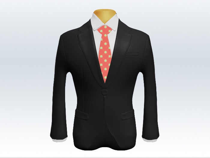 チャコールグレースーツとオレンジ小紋柄ネクタイと白ワイシャツ