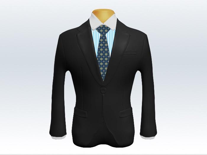 チャコールグレースーツと青小紋柄ネクタイとロンドンストライプワイシャツ