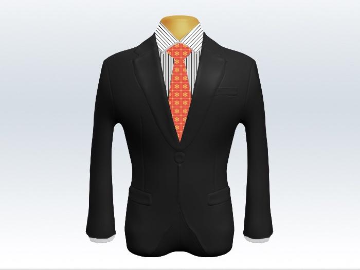 チャコールグレースーツとオレンジ小紋柄ネクタイとペンシルストライプワイシャツ