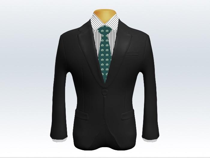チャコールグレースーツと深緑小紋柄ネクタイとペンシルストライプワイシャツ