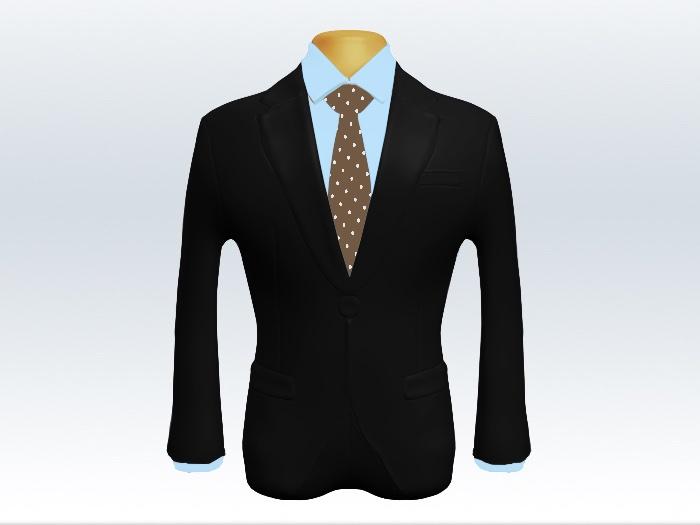 黒スーツと茶色ドット柄ネクタイと青ワイシャツ