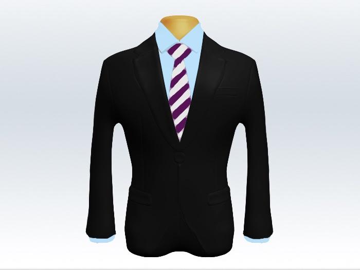 黒スーツと紫白ストライプネクタイと青ワイシャツ