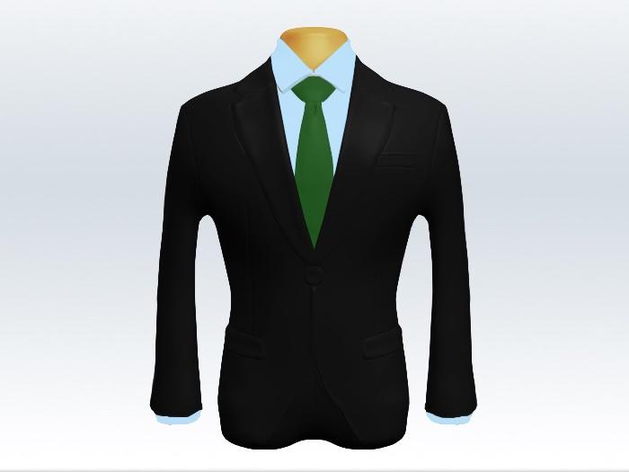 ブラックスーツと緑色無地ネクタイと青ワイシャツ