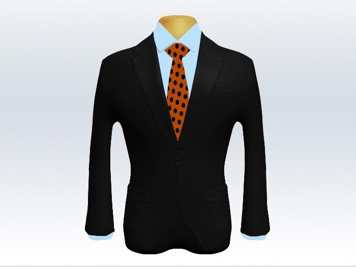 黒スーツとオレンジ色ドット柄ネクタイと青ワイシャツ