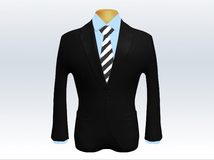 黒スーツと灰白ストライプネクタイと青ワイシャツ
