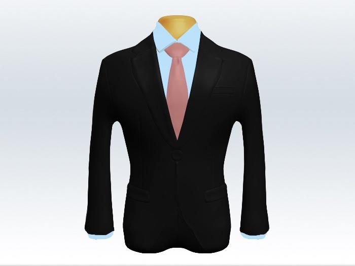 ブラックスーツとピンク無地ネクタイと青ワイシャツ