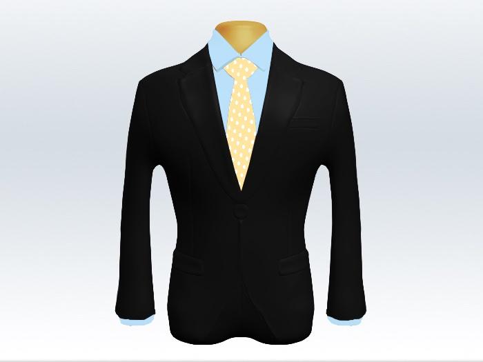 黒スーツと黄色ドット柄ネクタイと青ワイシャツ